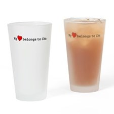 My Heart Belongs To Cha Drinking Glass