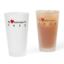 My Heart Belongs To Cory Drinking Glass