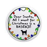 Dear Santa Basenji Christmas Ornament