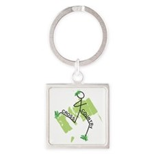 Cute Cross Country Runner Square Keychain