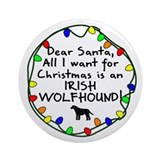 Dear Santa Irish Wolfhound Christmas Ornament