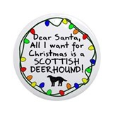 Dear Santa Scottish Deerhound Christmas Ornament