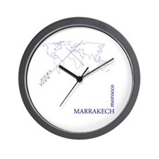 Marrakech geocode map (Blue) Wall Clock