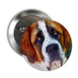 St Bernard Dog Photo Painting 2.25&quot; Button