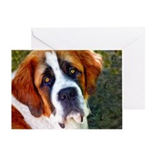 St Bernard Dog Photo Painting Greeting Card