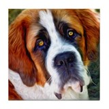 St Bernard Dog Photo Painting Tile Coaster