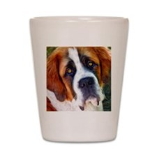 St Bernard Dog Photo Painting Shot Glass