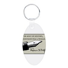 Anonymous Was a Woman Aluminum Oval Keychain