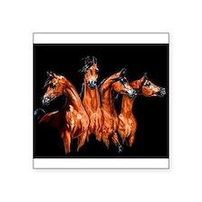 "Four Horses Square Sticker 3"" x 3"""