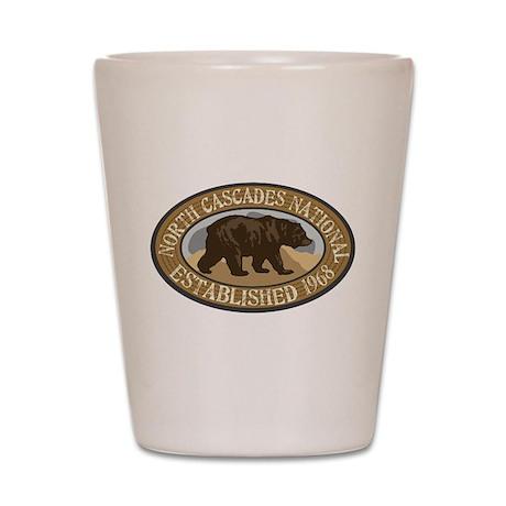 North Cascades Brown Bear Badge Shot Glass