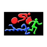Triathlon Color Figures 3D Rectangle Car Magnet