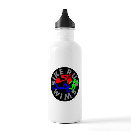 Triathlon Color Figures FLAT Stainless Water Bottl