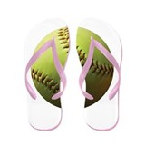Yellow Softball Flip Flops
