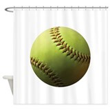 Yellow Softball Shower Curtain