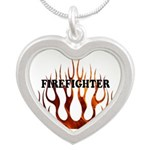 Firefighter Tribal Fire Silver Heart Necklace