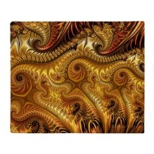 Gold and Silver Fractal Swirls Throw Blanket