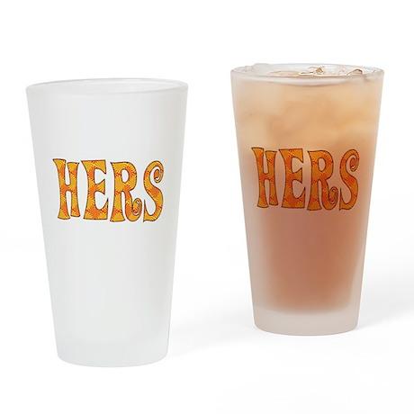 Funky Orange HERS Drinking Glass