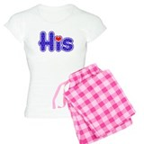 "Purple ""His"" with red heart pajamas"