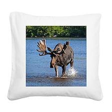 Maine moose Square Canvas Pillow