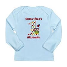 Custom guess whos 1 boy Long Sleeve Infant T-Shirt