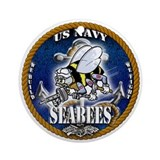 USN Navy Seabees Roped Blue Glow Ornament (Round)