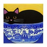 Cute Black cat tiles Tile Coaster