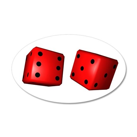 Red Dice 35x21 Oval Wall Decal