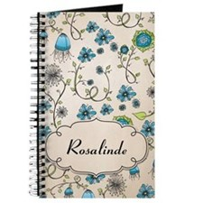 Whimsical blue flowers with name Journal