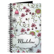 Whimsical pink flowers with name Journal