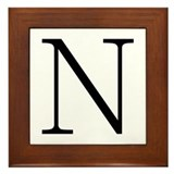 Greek Alphabet Character Nu Framed Tile
