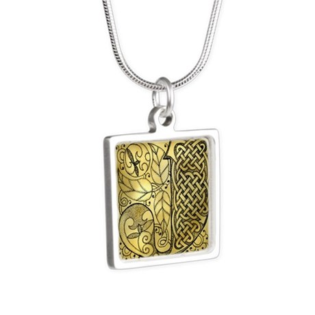 Celtic Letter J Silver Square Necklace