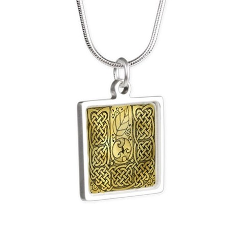 Celtic Letter U Silver Square Necklace