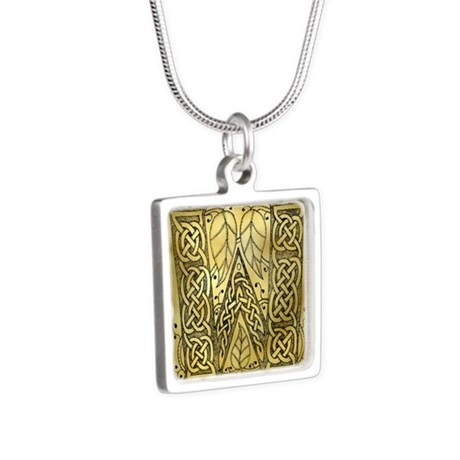 Celtic Letter W Silver Square Necklace