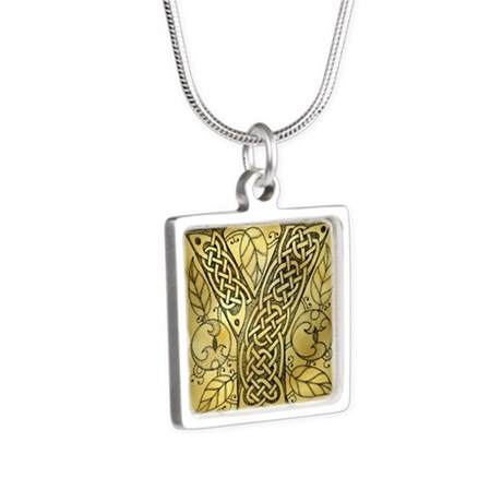 Celtic Letter Y Silver Square Necklace