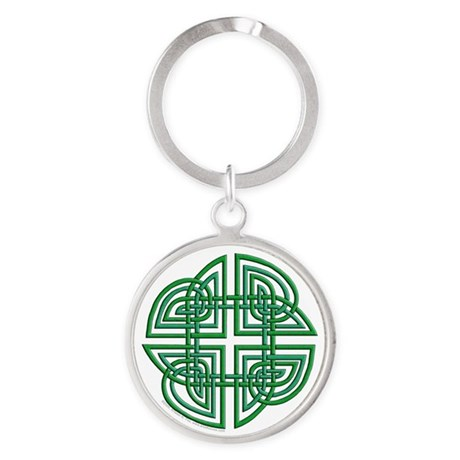 Celtic Four Leaf Clover Round Keychain