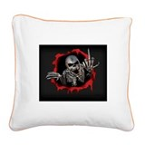 Chrome Skull Square Canvas Pillow