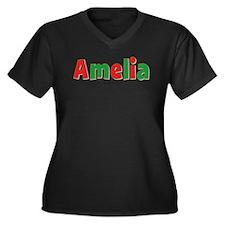 Amelia Christmas Women's Plus Size V-Neck Dark T-S