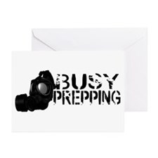 Busy Prepping Gas Mask Greeting Cards (Pk of 10)
