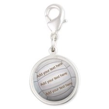 Beach Volleyball Silver Round Charm