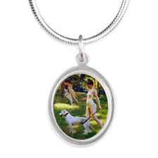 Nude Stewart Nymphs Hunting Silver Oval Necklace