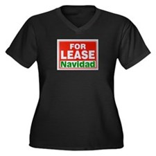 For Lease Navidad Women's Plus Size V-Neck Dark T-