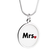 Mr and Mrs Silver Round Necklace