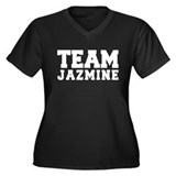 TEAM JAZMINE Women's Plus Size V-Neck Dark T-Shirt