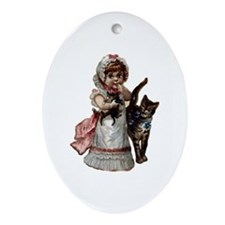 Victorian Girl & Cats Oval Ornament