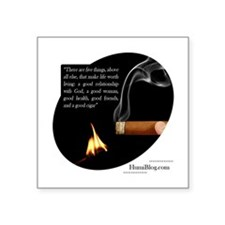 Cigar Sticker with Quote (Rectangular) Sticker
