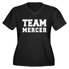 TEAM MERCER Women's Plus Size V-Neck Dark T-Shirt