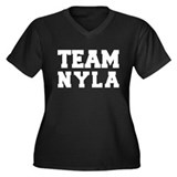 TEAM NYLA Women's Plus Size V-Neck Dark T-Shirt