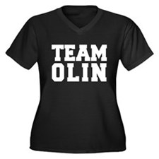 TEAM OLIN Women's Plus Size V-Neck Dark T-Shirt