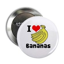 "I Heart (love) Bananas 2.25"" Button (100 pack)"