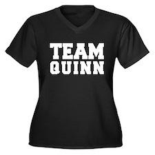 TEAM QUINN Women's Plus Size V-Neck Dark T-Shirt